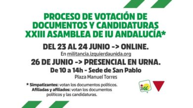 Photo of Comienzan las votaciones de la XXIII Asamblea de IU Andalucía